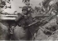WWII WW2 Photo German Soldier in Bunker MG34, K98  MG42 World War Two Wehrmacht