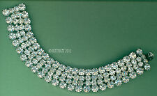 """Clear Glass Rhinestone Bracelet Vintage Signed Weiss Four Rows Wide Fits 6"""""""