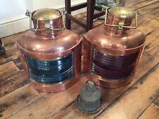 antique marine copper and brass port and starboard lights Made By PERKO