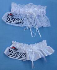 Wedding Garter Set - New England Patriots Football Themed NE Pats Bridal Garters