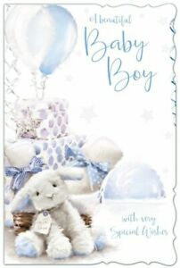 A Beautiful Baby Boy Birth Congratulations Greeting Card with Colour Insert