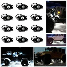 12x White LED Rock Light Kits Waterproof for OffRoad Truck Car ATV SUV Boat Lamp