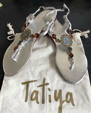 """""""Tatiya"""" Silver All Leather Jewelled  Sandals Size 41 Cost $140"""