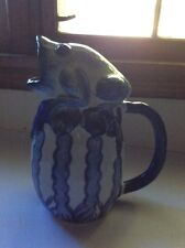 """Large 12"""" Blue And White Pitcher With Frog On Top"""