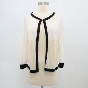 Ted Baker Cardigan Sweater Cropped Silk 3 M Medium Color Block Ivory Black