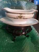 """Noritake BARCELONA Gravy Sauce Boat with Attached Underplate BUDS/ Flowers 9.5"""""""