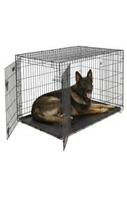Black Pet Folding Cage Kennel with ABS Tray LC 40-Inch Chique Petz