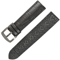 Breathable 20mm Black crocodile Grain Leather and Black Rubber Watch Band Strap