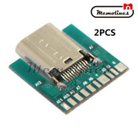 2PCS 24Pin USB 3.1 Type C Female Plug Socket Connector SMT Type with PCB Board