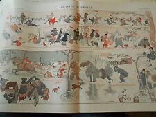 Les Joies de l'hiver fourrures verglas slis dégel Print Art Déco 1911