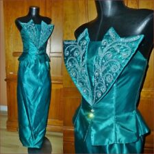 Vtg 70s Mike Benet Formal Jeweled Satin Evening Holiday Party Maxi DRESS GOWN