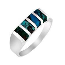 Sterling Silver Band Blue Green King Solomon Natural Eilat Stone Rectangle Ring