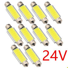 10Pcs Festoon 41mm DC 24V COB C5W LED Car Light Dome Reading Map Roof Light Bulb