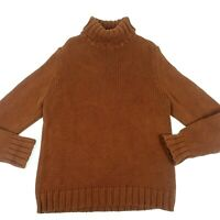 J. Crew Men's Brown Turle Neck Wool Sweater Sz L Pullover Thick Knit