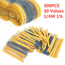 300PCS 1/4W 1% 0.25Watt Metal Film Resistor Resistance Assortment Kit 30 Values