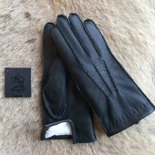 Damen Schwarz Winter Lederhandschuhe mit Kaninchenpelzfutter