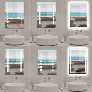 Illuminated LED Bathroom Mirror Demister Touch Sensor Light Up Small Sizes