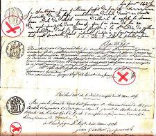 3 Billets a Ordre bons au porteur manuscrits timbre royal sec& humide
