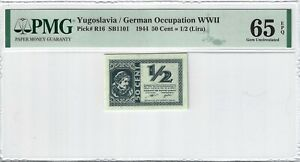 P-R16 1944 50 Cent = 1/2 (Lira), Yugoslavia / German Occupation, PMG 65EPQ GEM