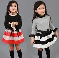 New Kids Toddlers Girls Princess Long Sleeve Stripe Mini Dress Age:2-7 Years