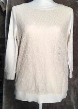Loft Cream lace Front top 3/4 sleeve shirt size top Medium