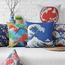 Japanese Ukiyo-e Style Pillow Case Cushion Cover Square 45cm Linen Sofa Decor