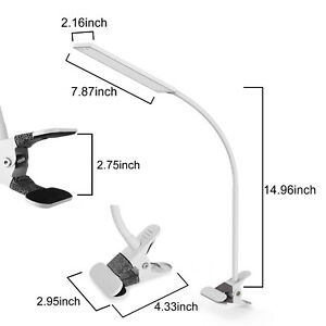 5W 3Modes LED Brightness Flexible Clip on Light Dimmable Bedroom Read Lamp White