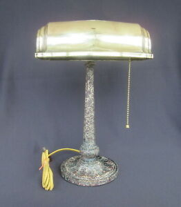 Antique Cast Iron Bankers Lamp **Rewired** (Desk Notary Brass)             FX256