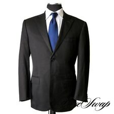 ESSENTIAL Corneliani Made in Italy Leader Solid Black Twill Dual Vent Suit 50 R