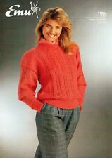 "~ Emu Knitting Pattern For Lady's Pretty Lace Panel Sweater ~ 30"" ~ 38"" Bust ~"
