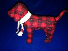 Victoria's Secret Pink Love Dog Red Plaid White Scarf Collectible Dog 07 07