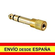 Adaptador Jack 3.5 mm Hembra a 6.3 mm Macho Negro Bañado Metalico Oro a3427