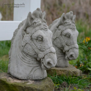 HORSE HEAD PAIR Stone Pillar Caps Gate Posts Garden Ornament Statue ⧫onefold-uk