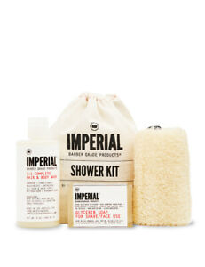 Imperial Barber Shampoo Conditioner Body Wash Glycerin Soap Bar Shower Kit