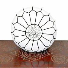Handmade Genuine Leather Moroccan Pouf Footstool Ottoman White Black Unstuffed