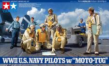 Tamiya 61107 1/48 Aircraft Model Kit WWII US Navy Pilots Figures w/Moto Tug Set