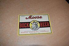 Vintage Moose Bock Beer Label Roscoe Pa Moose Brewing