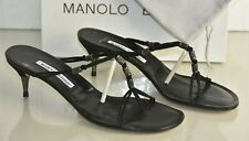 NEW Manolo Blahnik Thong Slide Mules Kitten Heels Suede Black Strappy Shoes 40.5