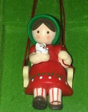 Vintage Hallmark Tree Trimmer Ornament Girl on Swing with Kitten 1979 In Box