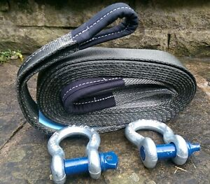 MADE IN UK 4x4 RECOVERY TOWING ROPE STRAP 5M 7 TON & 2 x 3.25T TESTED SHACKLES