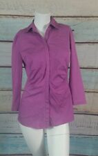 Lafayette 148 New York  Purple  Button Down Top  Blouse Shirt Size 2