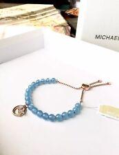 Michael Kors Pave Logo Imitation Pearl Beaded Slider Bracelet NWT
