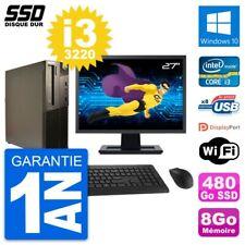 """PC LENOVO M82 SFF Screen 27 """" Intel Core i3-3220 RAM 8Go SSD 480Go Windows 10"""