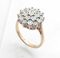 Size 7 Natural Round  Diamond Ring 14K Yellow Gold Clad Sterling Silver