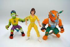 Lot (3) Vintage 1988 1990 TMNT Ninja Turtles April O'Neil Triceraton Mondo Gecko