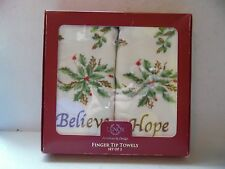 Lenox Finger Tip Towels Set Of 2 Holiday Believe & Hope Holly & Berry Design