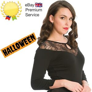 Banned Apparel Retro 50s Spider Nights Jersey Evening Mesh Keyhole Top In Black