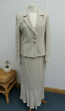 100% Cream Linen Lined Skirt Jacket Suit Occasion/Wedding/Summer Size UK 12 BNWT