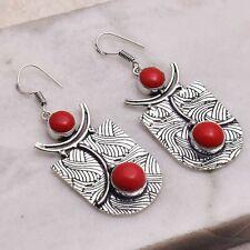 "Coral  Handmade Drop Dangle Earrings Jewelry 2.28"" AE 55083"