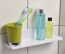Evideco Rectangular Bath Shower Caddy Shelf SALI Adhesive or to Be Fixed White